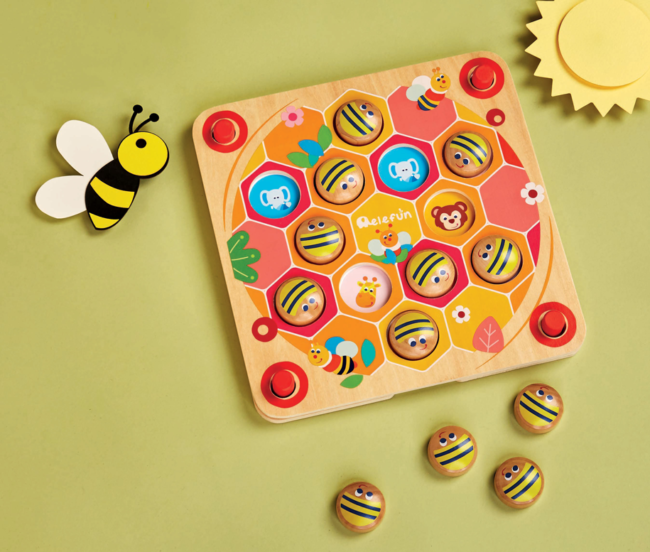 Gra pamięciowa drewniana – Pszczółki