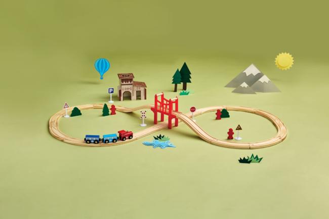 Pociąg z torami zestaw drewniany
